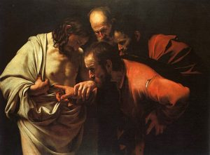 the incredulity of st. thomas painting by caravaggio